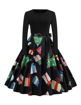 Slinky Bow Sash Swing Dress Christmas Print Form Fitting