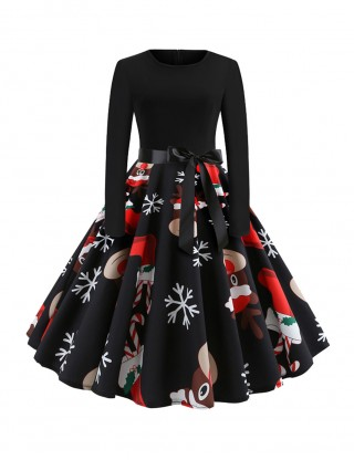 Showy Bow Belt Skater Midi Dress Xmas Print Glamor