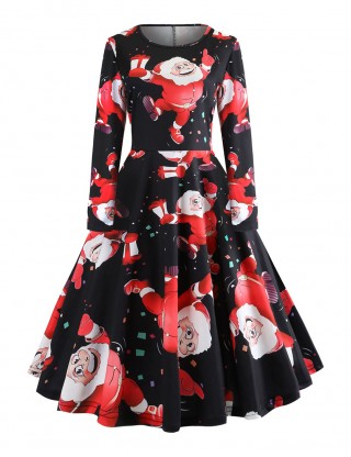 Flattering Santa Claus Pattern Skater Dress Long Sleeves For Couple