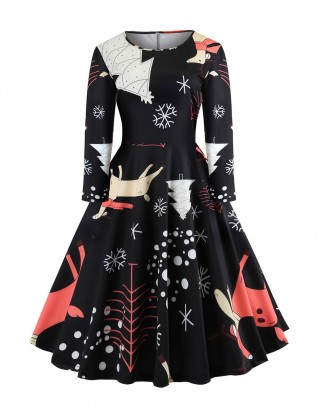 Flattering Crew Collar Printed Skater Dress Full Sleeves Fashion Online
