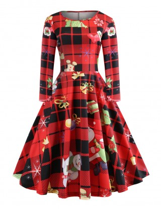 Super Faddish Red Crew Neck Skater Dress Xmas Pattern Elastic Material