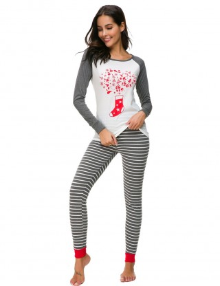 Bewitching Grey Large Size Xmas Round Neck Loungewear Print Wedding Night