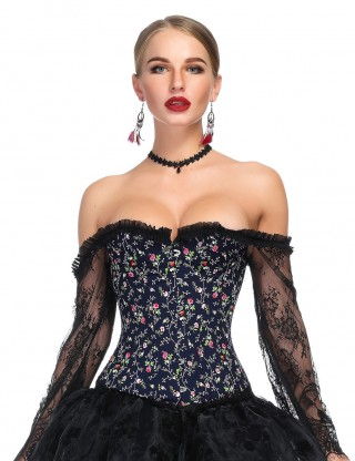 Durable Off Shoulder Frilled Bustier Floral Print Super Faddish