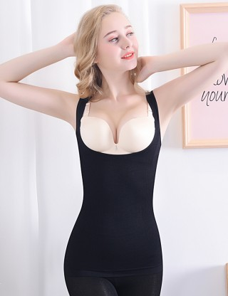Curve-Creating Black Underbust Vest Shaper Solid Color Anti-Curling