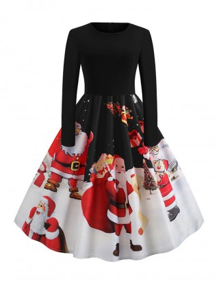 Gorgeous Black Xmas Printed Skater Dresses Zipper Closure Dress Women