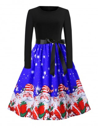 Absorbing Blue Big Bowknot Skater Dress Santa Claus Print Charm