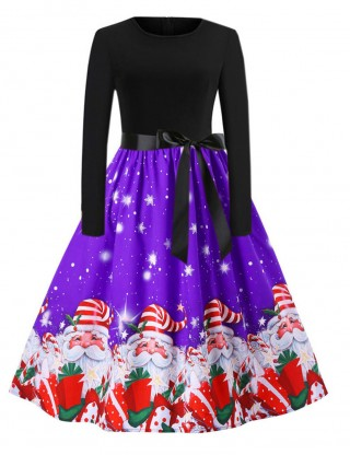 Soft Purple Full-Sleeved Christmas Dress Round Neck Fashion Online