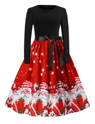 Smooth Red Christmas Pattern Skater Dress Back Zipper For Camping