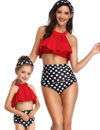 Svelte Red Ruffle Family Swimsuit Halter Dot Pattern Beachwear