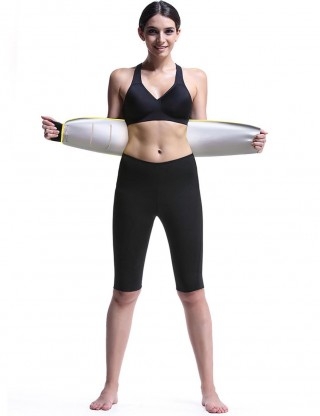 Yellow Tummy Control Sweat Belt Nano Silver Film Natural Shaping