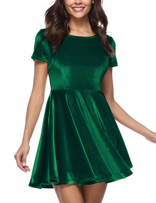 Edgy Blackish Green Solid Color A-Line Skater Dress Crew Neck Modern Fashion
