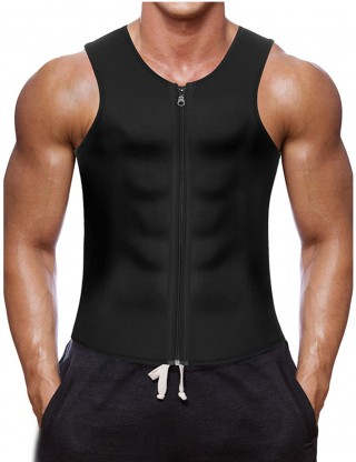 Premium Fat Burner Black Neoprene Waist Shaper Front Zipper Plus