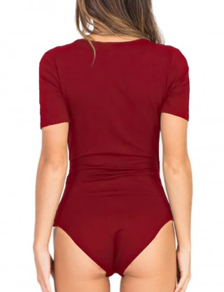 Wine Red Pure Color Bodysuit Deep V-Neck Snap Button