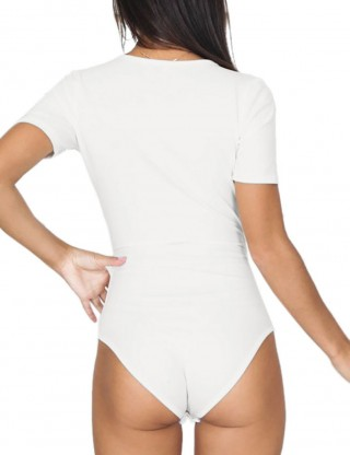 Dreamy White V-Neck Solid Color Bodysuit Short Sleeves Ultra Sexy