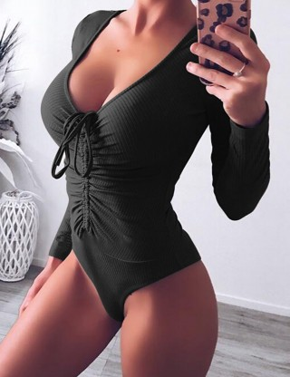 Feminine Black Pure Color Tight Bodysuit Front Knot Casual Clothes