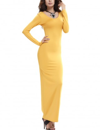 Adorable Yellow Pure Color Ankle Length Dress Full Sleeves Glamor