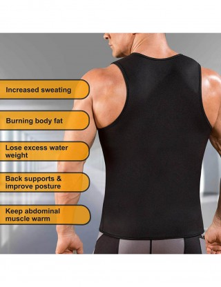 Ultimate Stretch Black Large Size Men U Neck Neoprene Sauna Shapewear Abdominal Slimmer
