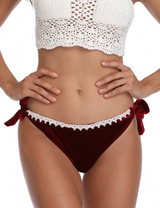 Amazing Red Pure Color Bikini Bottom Velvet Patchwork Ladies Grace