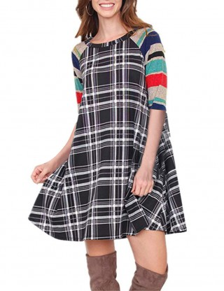 Bewildering Grey Patchwork Swing Brushed Dress With Double Pockets Pullover