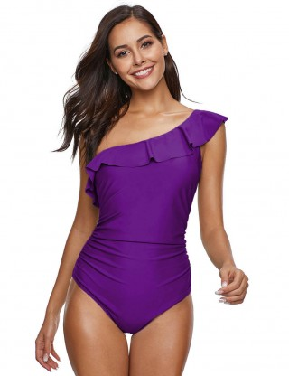 Multi-Function Purple Big Size Single Shoulder Ruched Swimsuit Ruffle