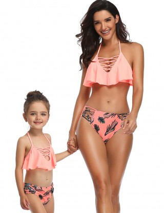 Brightly Orange Halter Lace-Up Mom And Daughter Bikini Ruffle Romance