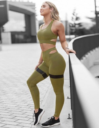 Refreshing Green Cut Out Racerback Sport Suit Ankle Length Sexy Women