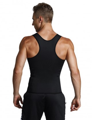 Slim Waist Black 3 Rows Hooks Neoprene Mens Big Size Slimming Vest Waist Slimmer