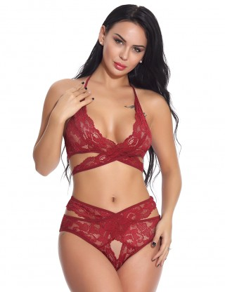 Cutie Wine Red Hollow Out 2 Pieces Bralette Crossover Lace Fashion Online