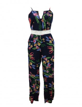 Particularly Blue Ankle Length Rompers With Pockets Flower Print Woman