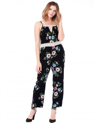 Surprising Dark Blue Hollow Out Floral Printed Rompers Splice Woman