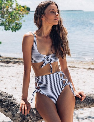 Fetching Criss Cross Striped Bikini High Waist Female Swimwear