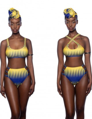 Two Piece Suit Premium Quality High Waist Bikini Criss Cross African Print Female Elegance