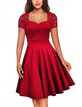 Graceful Red Vintage Midi Dress Floral Lace Zipper Vacation Time