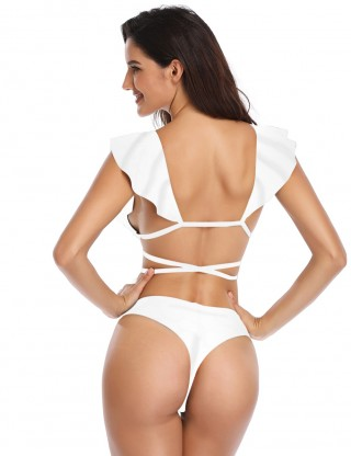 Svelte White Flouncing Two Pieces Swimsuit Plunging Neck Holiday