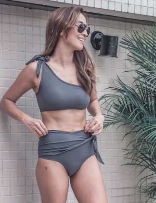 Cool Grey Wireless Ruched Bikini High Waist Knot Summer Honeymoon