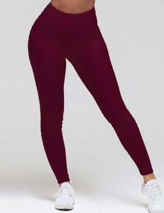 Distinct Wine Red Jacquard Yoga High Waisted Leggings For Runner