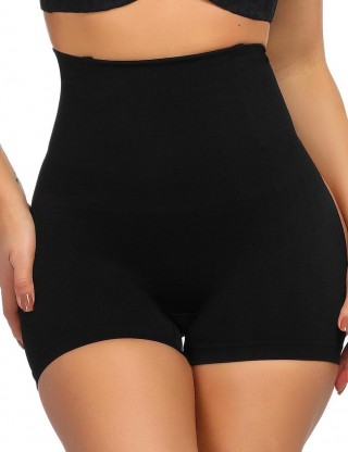 Stretch Black High Waist No-Curling Butt Lifters 4 Steel Bones Weight Loss