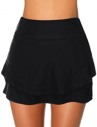 Ocean Black Double Layers Plain Beach Skirt High Waist Cheap Online