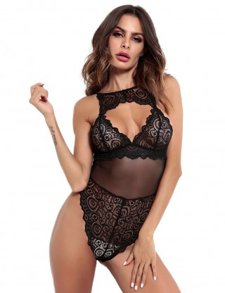 Luscious Black Crotch Buckle Mesh Teddy Splice Lace Midnight Romance