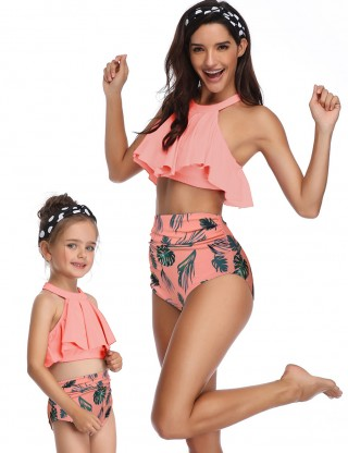 Dazzles Orange High Rise Flounce Mother Daughter Bikini Print Casual Fashion