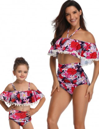 Ultra Cheap Purple Ruched Mother Daughter Pom Pom Beachwear Lady Fashion