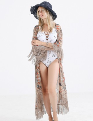 Exquisitely Khaki Sunscreen Printed Swimming Cover Up Fringe Modern Fashion