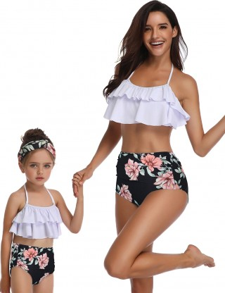 Tailored High Waist Mom Kid Beachwear Floral Pattern Treading Water