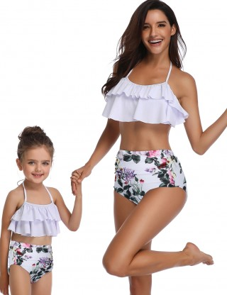 Unforgettable Open Back Mother Daughter Bikini High Rise Lady Swimwear