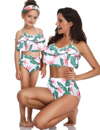 Uniquely Wireless Family Bathing Suit Print Bowknot For Romans
