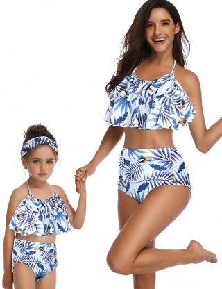Classy Ruffle Two Pieces Family Swimsuit High Waist Vacation