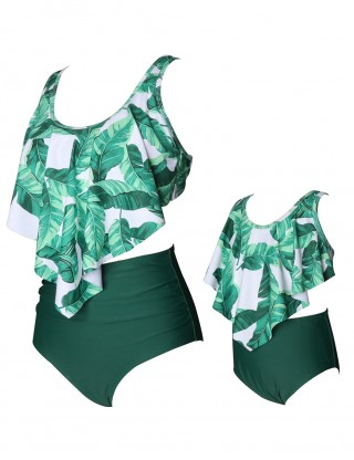 Stunning Green Bowknot Mother Daughter Bikini Leaves Pattern Women Forward