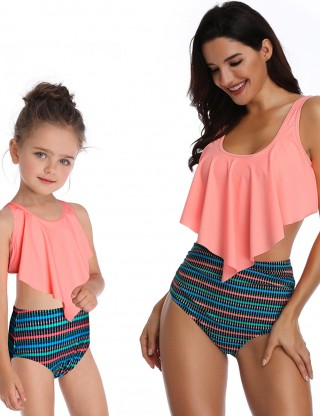 Inviting Orange High Rise Two Pieces Family Swimwear Printing Fashion