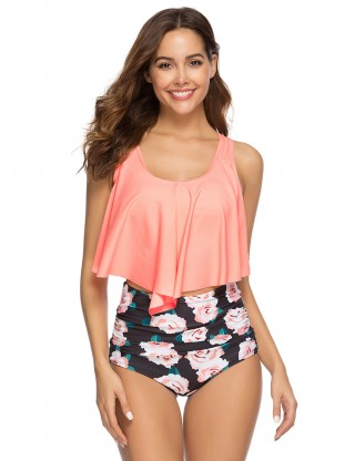 Tailored Two Piece Wireless Beachwear Flounce Feminine Charm
