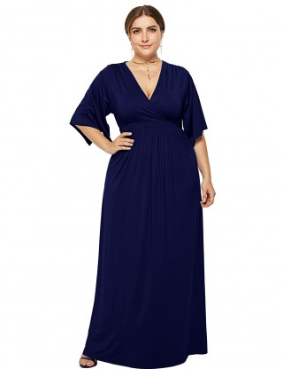 Close Fitting Dark Blue V-Neck Pure Color Maxi Size Big Size Sheath